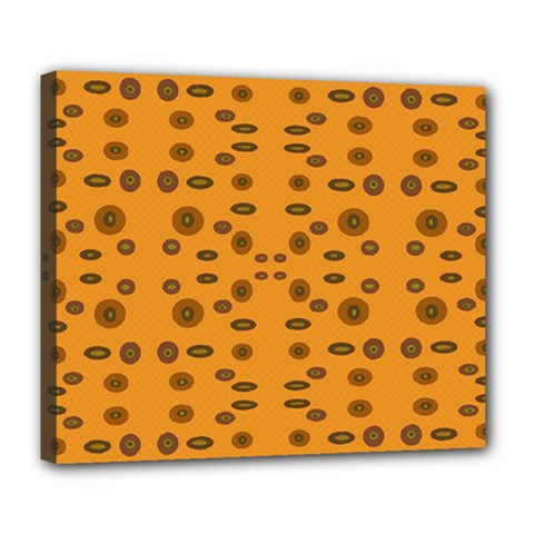 Brown Circle Pattern On Yellow Deluxe Canvas 24  X 20