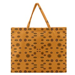 Brown Circle Pattern On Yellow Zipper Large Tote Bag