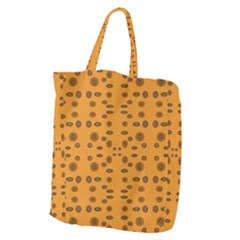 Brown Circle Pattern On Yellow Giant Grocery Zipper Tote