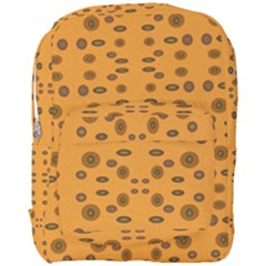 Brown Circle Pattern On Yellow Full Print Backpack