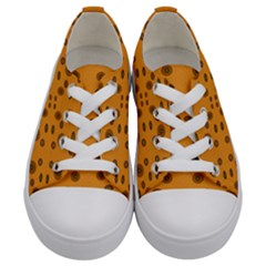 Brown Circle Pattern On Yellow Kids  Low Top Canvas Sneakers