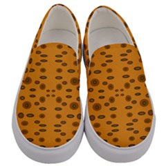 Brown Circle Pattern On Yellow Men s Canvas Slip Ons