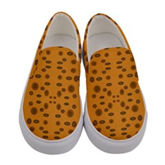 Brown Circle Pattern On Yellow Women s Canvas Slip Ons