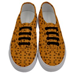 Brown Circle Pattern On Yellow Men s Classic Low Top Sneakers