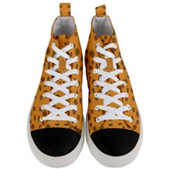 Brown Circle Pattern On Yellow Men s Mid Top Canvas Sneakers