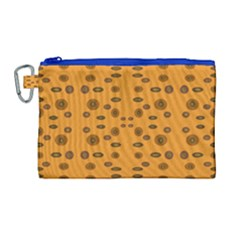 Brown Circle Pattern On Yellow Canvas Cosmetic Bag (large)