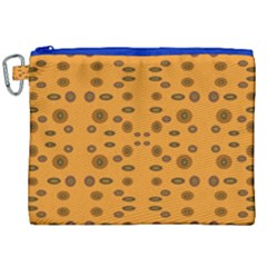 Brown Circle Pattern On Yellow Canvas Cosmetic Bag (xxl)