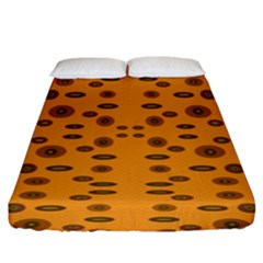Brown Circle Pattern On Yellow Fitted Sheet (king Size)