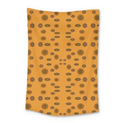 Brown Circle Pattern On Yellow Small Tapestry