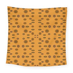 Brown Circle Pattern On Yellow Square Tapestry (large)