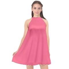 Pink 16 A | Light Pink Halter Neckline Chiffon Dress