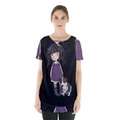 Dolly Girl And Dog Skirt Hem Sports Top