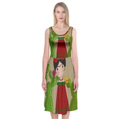 Frida Kahlo Doll Midi Sleeveless Dress