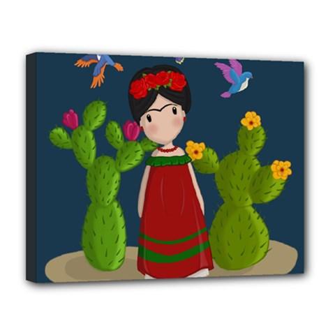 Frida Kahlo Doll Canvas 14  X 11