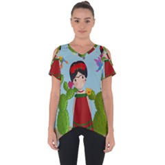 Frida Kahlo Doll Cut Out Side Drop Tee