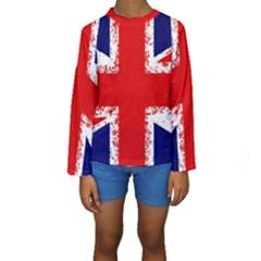Union Jack London Flag Uk Kids  Long Sleeve Swimwear