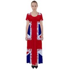 Union Jack London Flag Uk High Waist Short Sleeve Maxi Dress