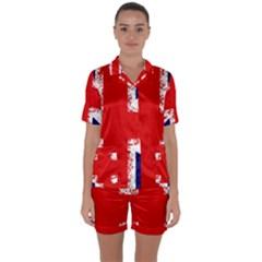 Union Jack London Flag Uk Satin Short Sleeve Pyjamas Set