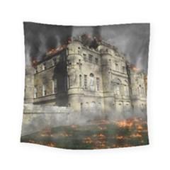 Castle Ruin Attack Destruction Square Tapestry (small)