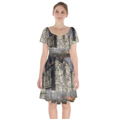Castle Ruin Attack Destruction Short Sleeve Bardot Dress