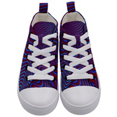 Wave Pattern Background Curves Kid s Mid Top Canvas Sneakers