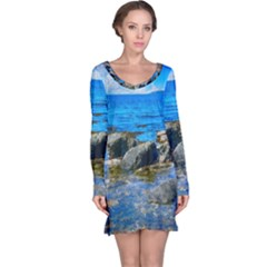 Shoreline Sea Coast Beach Ocean Long Sleeve Nightdress