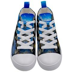 Shoreline Sea Coast Beach Ocean Kid s Mid Top Canvas Sneakers