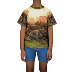 Rocks Outcrop Landscape Formation Kids  Short Sleeve Swimwear