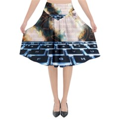 Ransomware Cyber Crime Security Flared Midi Skirt