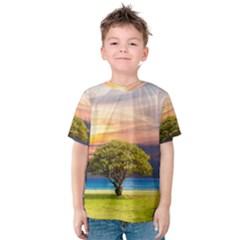 Tree Sea Grass Nature Ocean Kids  Cotton Tee