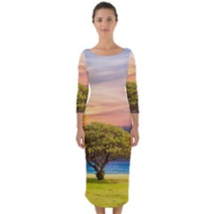 Tree Sea Grass Nature Ocean Quarter Sleeve Midi Bodycon Dress