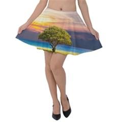 Tree Sea Grass Nature Ocean Velvet Skater Skirt