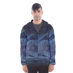 Landscape Night Lunar Sky Scene Hooded Wind Breaker (men)