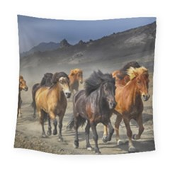 Horses Stampede Nature Running Square Tapestry (large)