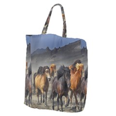 Horses Stampede Nature Running Giant Grocery Zipper Tote