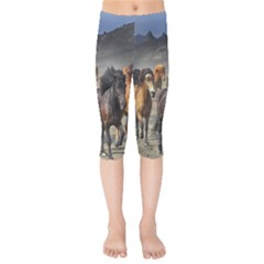Horses Stampede Nature Running Kids  Capri Leggings
