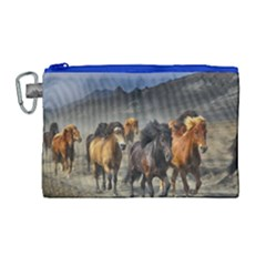 Horses Stampede Nature Running Canvas Cosmetic Bag (large)