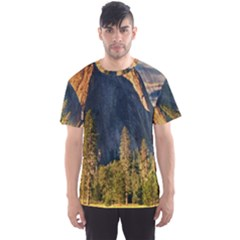 Mountains Landscape Rock Forest Men s Sports Mesh Tee