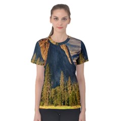 Mountains Landscape Rock Forest Women s Cotton Tee