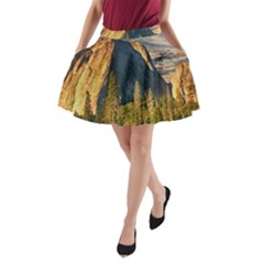 Mountains Landscape Rock Forest A Line Pocket Skirt