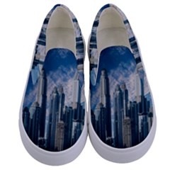 Skyscraper Cityline Urban Skyline Kids  Canvas Slip Ons