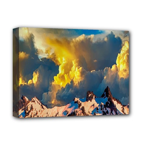 Mountains Clouds Landscape Scenic Deluxe Canvas 16  X 12