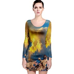 Mountains Clouds Landscape Scenic Long Sleeve Bodycon Dress