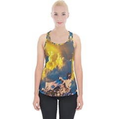 Mountains Clouds Landscape Scenic Piece Up Tank Top