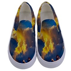Mountains Clouds Landscape Scenic Kids  Canvas Slip Ons