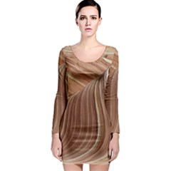 Swirling Patterns Of The Wave Long Sleeve Bodycon Dress