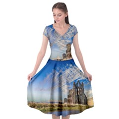 Ruin Church Ancient Architecture Cap Sleeve Wrap Front Dress