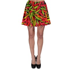 Chilli Pepper Spicy Hot Red Spice Skater Skirt