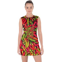Chilli Pepper Spicy Hot Red Spice Lace Up Front Bodycon Dress