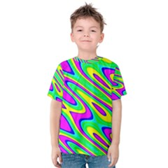 Lilac Yellow Wave Abstract Pattern Kids  Cotton Tee